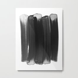 Charcoal Grey Minimalist Abstract Brushstrokes Metal Print