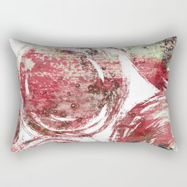 Rust : Red, maroon, brown, and yellow-green abstract ink painting Rectangular Pillow