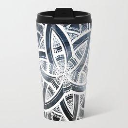 Authentic white mandala on sky Travel Mug