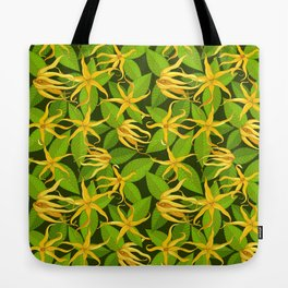 Ylang Ylang Exotic Scented Flowers and Leaves Pattern Tote Bag