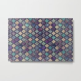 Moroccan Tile Design In Retro Colors Metal Print