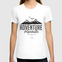 T-shirts featuring ADVENTURE AWAITS by magdam