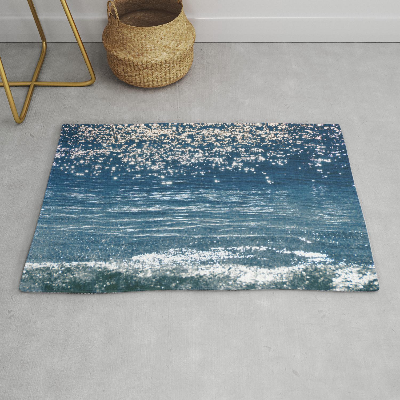 Blue Sea Sparkle Rug By Tamsinlucie
