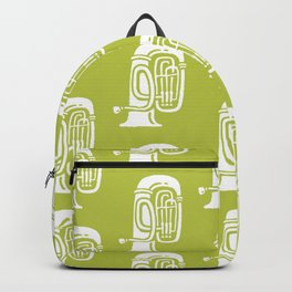 Tuba Pattern Chartreuse Green Backpack