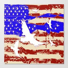 RED-WHITE-BLUE EAGLES & PATRIOTISM FLAG Canvas Print