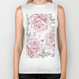 Pretty Pink Roses Flower Garden Biker Tank