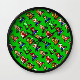Super Mar!o Kart heroes | greengrass || retrogaming pattern Wall Clock