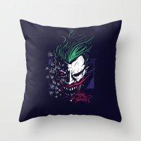 joker Throw Pillows featuring Joker by Steven Toang
