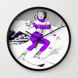 Snow Bunny Pin Up Girl Purple Wall Clock