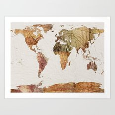 Vintage Currency World Map Art Print