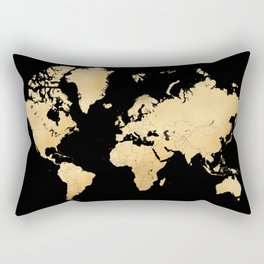 Sleek black and gold world map Rectangular Pillow