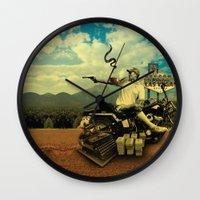 hunter s thompson Wall Clocks featuring Hunter S by mattdunne