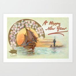 Vintage Postcard - Happy New Year Art Print