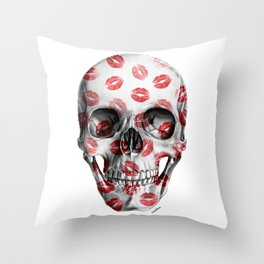 Kisses Skull Throw Pillow