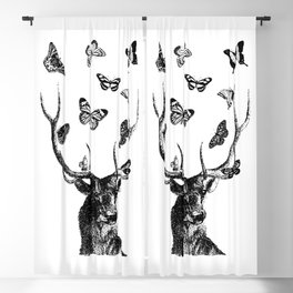 The Stag and Butterflies | Deer and Butterflies | Vintage Stag | Vintage Deer | Black and White | Blackout Curtain