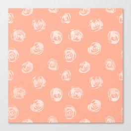 Sweet Life Rosebud Peach Coral Pink Canvas Print