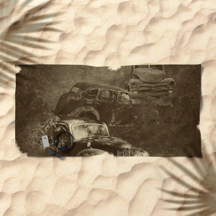 Cars in the jungle Beach Towel