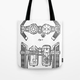 Starwars Tie Bomber Patent - Tie Bomber Art - Black And White Tote Bag