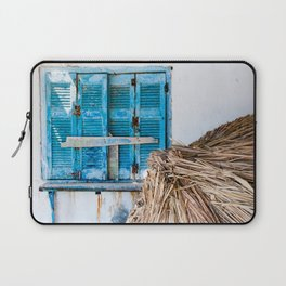 Distressed Blue Wooden Shutters and Beach Umbrella in Crete. Laptop Sleeve