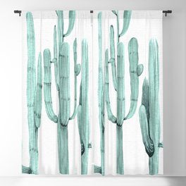 Turquoise Cactus Watercolor Painting Blackout Curtain