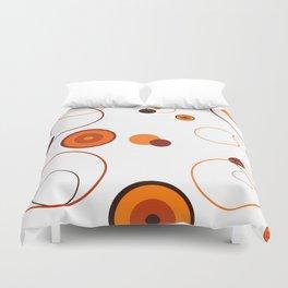 Orange retro style circles on white background Duvet Cover