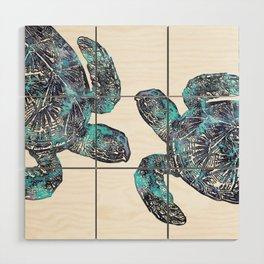 Sea Turtle Blue Watercolor Art Wood Wall Art