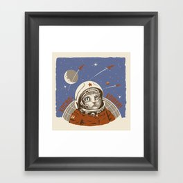 Soviet Space Cat Framed Art Print