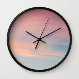 Teal Sky with Orange Clouds Wall Clock