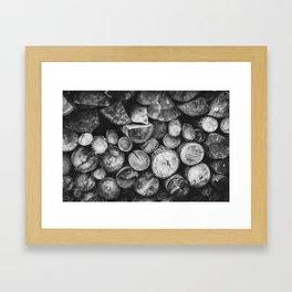 Logs of fire wood   Black and White   Lumber   Nature   By Magda Opoka Framed Art Print