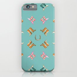 boots all over turquoise iPhone Case