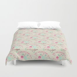 Pink teal gren love birds my valentine romantic floral Duvet Cover