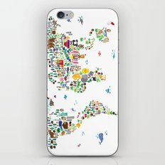 Animal Map of the World for children and kids iPhone Skin