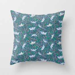 Paper boats with willow branches and dasies on dark background Throw Pillow