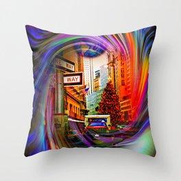 Christmas shopping New York Throw Pillow