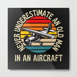 Old Man In An Aircraft Funny Pilot Metal Print