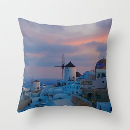 Santorini, Oia Greece, Windmill Sunrise Throw Pillow