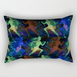 Watercolor women runner pattern on dark background Rectangular Pillow