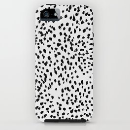 Nadia - Black and White, Animal Print, Dalmatian Spot, Spots, Dots, BW iPhone Case