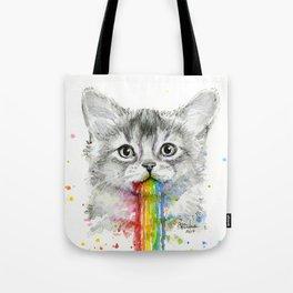 Kitten Puking Rainbows Cat Rainbow Vomit Tote Bag