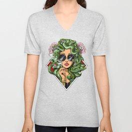 Medusa Hippie Smoking Weed Unisex V-Neck