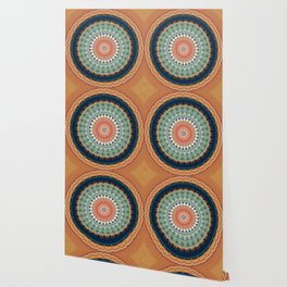 Dark Indigo Blue Orange Mandala Wallpaper