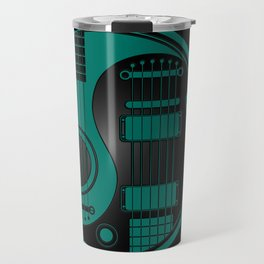 Teal Blue and Black Acoustic Electric Yin Yang Guitars Travel Mug