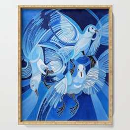 Muge's Pigeons in Blue  Serving Tray