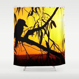 Kookaburra Silhouette Solstice Sunset Shower Curtain