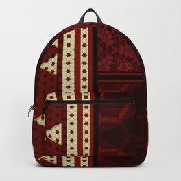 Multi Red Cream Geo Pattern Backpack