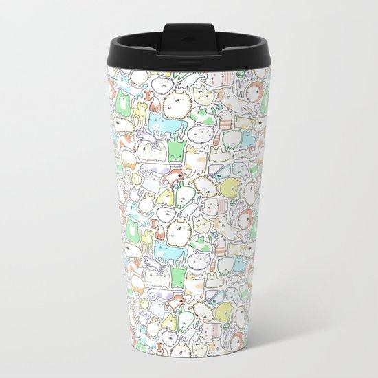 Doodle Cats Metal Travel Mug