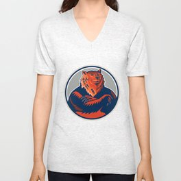 Russian Bear Arms Folded Circle Retro Unisex V-Neck