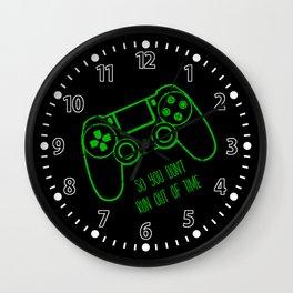 Video Games Green on Black Wall Clock