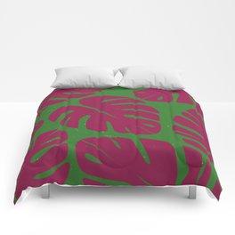 Monstera Leaf Print 4 Comforters