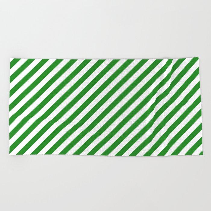 Diagonal Stripes (Forest Green/White) Beach Towel